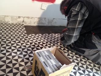 Verleger Zementplatten, Verlegen Zementplatten
